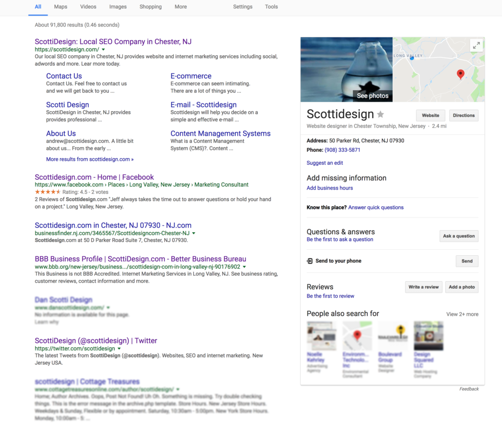 ScottiDesign on the 1st Page of Google